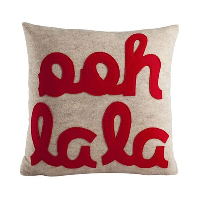 It Start With A Kiss Ooh La La Throw Pillow Size: 16 W x 16 D, Color: Oatmeal & Red Felt