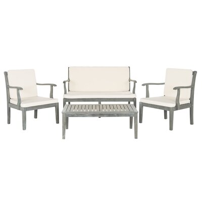 Bradbury 4 Piece Seating Group with Cushions Finish: Ash Grey