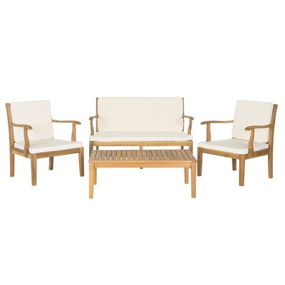 Bradbury 4 Piece Seating Group with Cushions Finish: Teak Brown