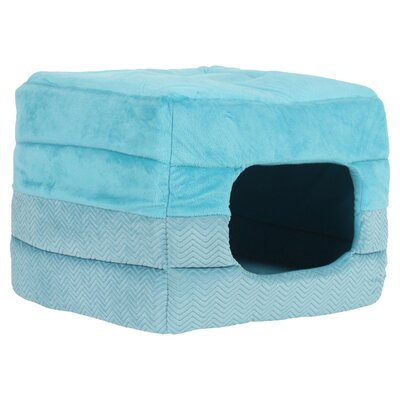 2-in-1 Pet Cube-Cuddler Flair Turquoise Dog Bed/ Cat Bed Size: Medium (15 W x 15 D x 12 H)