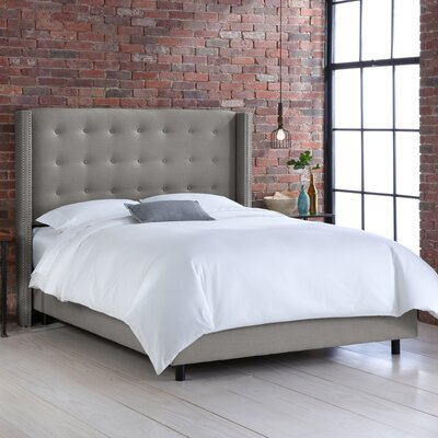 Jessa Tufted Linen Upholstered Panel Bed Size: King