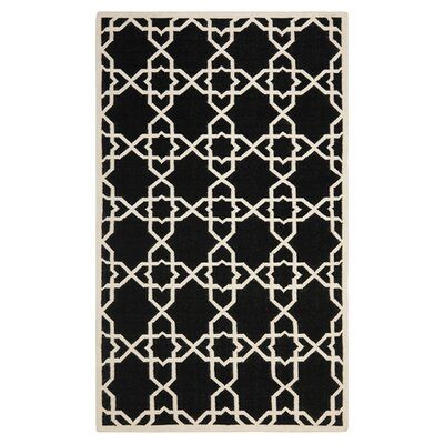 Dhurries Black Area Rug Rug Size: 6 x 9