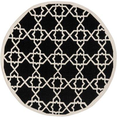 Dhurries Black Area Rug Rug Size: Round 8'