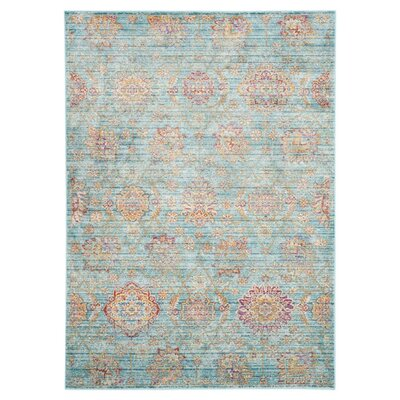 Sasha Blue/Orage Area Rug Rug Size: Rectangle 53 x 76
