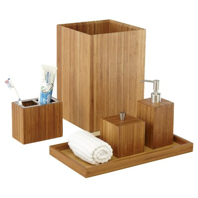 5 Piece Bamboo Bath & Vanity Set