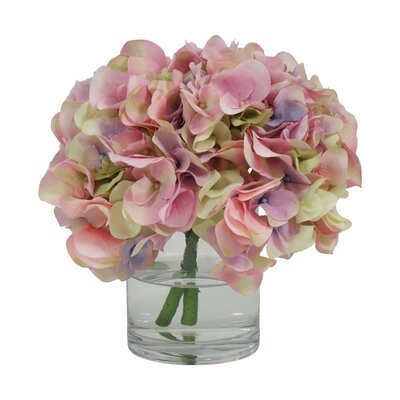 Hydrangea in Glass Water Vase Color: Pink