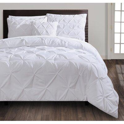 Asphod�le 4 Piece Comforter Set Size: King, Color: White