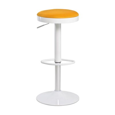 Fun, Colorful Carrie Adjustable Height Swivel Bar Stool Upholstery: Orange