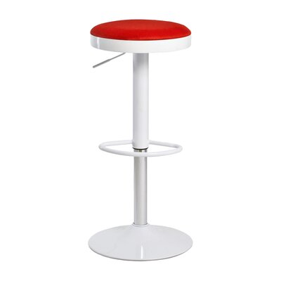 Fun, Colorful Carrie Adjustable Height Swivel Bar Stool Upholstery: Red