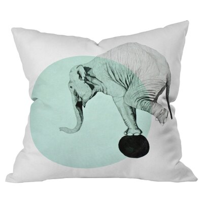 Blue Elephant Outdoor Throw Pillow