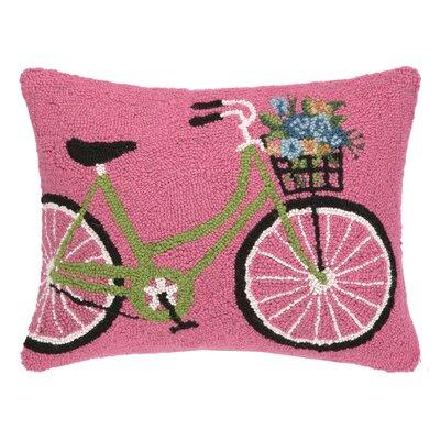 Green Bike with Flowers Hook Wool Lumbar Pillow