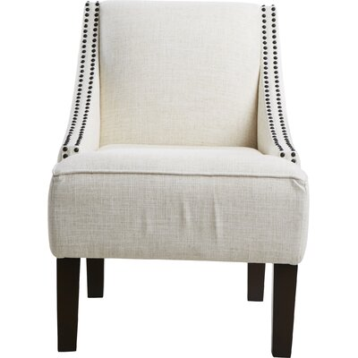 Fassbender Upholstered Side Chair Nailhead Trim Detail: Black Nailhead, Upholstery: Linen Talc