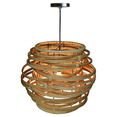 Oceola Rattan 1-Light Geometric Pendant