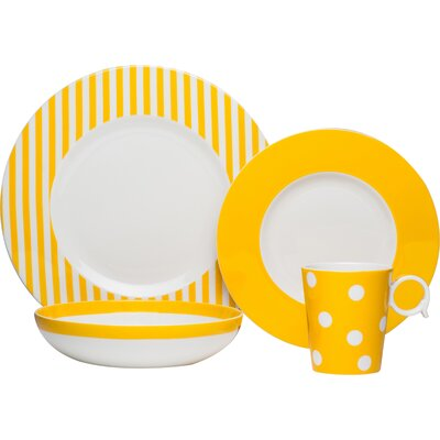 4-Piece Bessie Porcelain Place Setting in Yellow FMY10-904