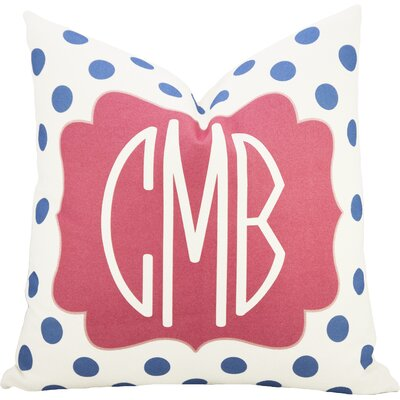 Personalized Dot Throw Pillow in Blue & Pink