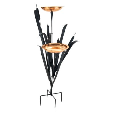 Double Cattail Bird Bath