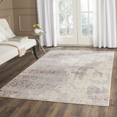 Ysolde Purple/Cream Area Rug Rug Size: Runner 23 x 8