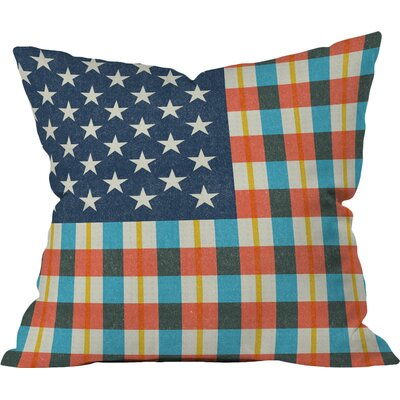 Plaid Flag Fleece Stars and Stripes Throw Pillow Size: 16 H x 16 W x 4 D