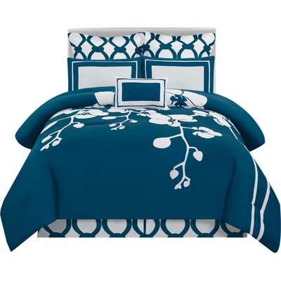 6-Piece Astrid Comforter Set in Indigo Size: Queen