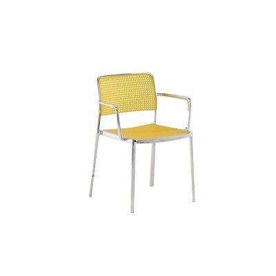 Audrey Armchair (Set of 2) Finish: Aluminum/Yellow