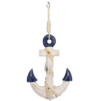 Rustic Anchor with Hook Rope and Shells Sculpture Blue-White-Anchor-13