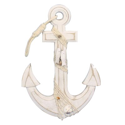 Rustic Anchor with Hook Rope and Shells Sculpture Whitewash-Anchor-13