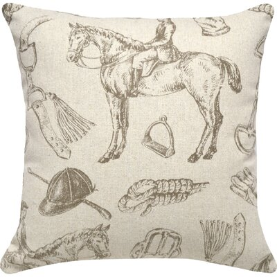Equestrian Linen Throw Pillow (Set of 2) Color: Gray