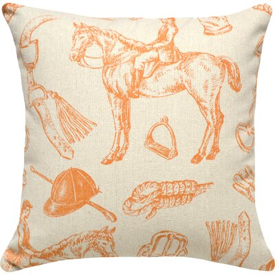 Equestrian Linen Throw Pillow (Set of 2) Color: Orange