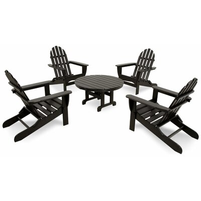 Ivy Terrace Classics 5 Piece Folding Adirondack Seating Group Color: Black