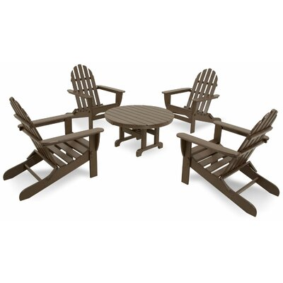 Ivy Terrace Classics 5 Piece Folding Adirondack Seating Group Color: Mahogany