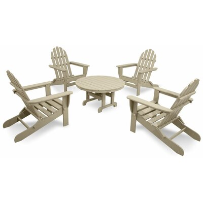 Ivy Terrace Classics 5 Piece Folding Adirondack Seating Group Color: Sand