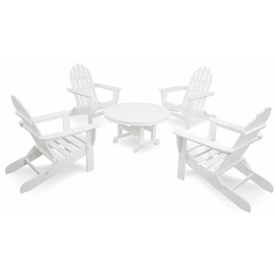 Ivy Terrace Classics 5 Piece Folding Adirondack Seating Group Color: White