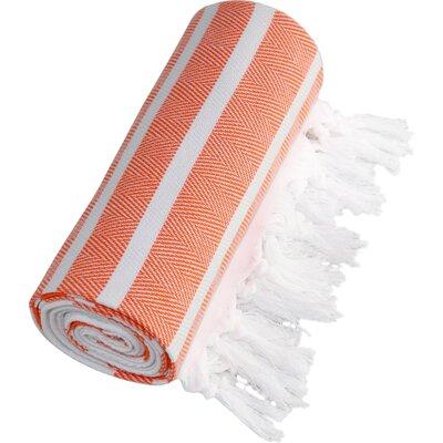 Herringbone Fouta Towel in Dark Orange
