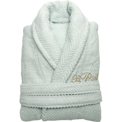 Personalized Herringbone Bathrobe in Aqua Size: Large/Extra Large