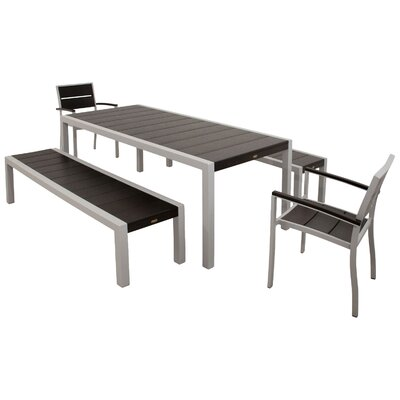 Surf City 5 Piece Bench Dining Set Color: Textured Silver / Charcoal Black