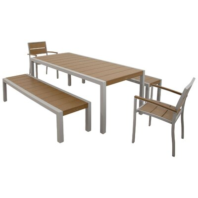 Surf City 5 Piece Bench Dining Set Color: Textured Silver / Tree House