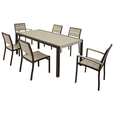Surf City 7 Piece Dining Set Color: Textured Bronze / Sand Castle