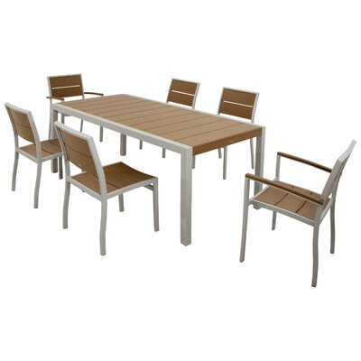Surf City 7 Piece Dining Set Color: Textured Silver / Tree House