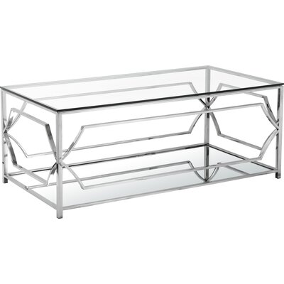Emmett Mirrored Coffee Table in Steel