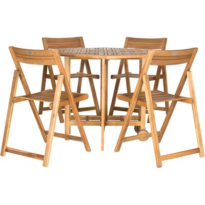 Candice 5 Piece Dining Set Finish: Teak Look