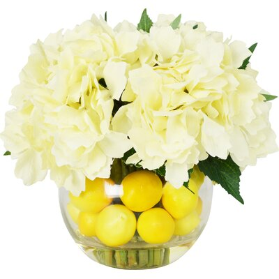 Faux Hydrangeas Floral Arrangements in Decorative Vase