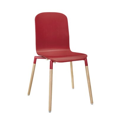Stack Solid Wood Dining Chair Finish: Red