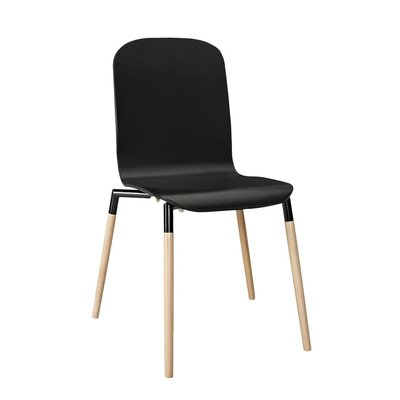 Stack Solid Wood Dining Chair Color: Black