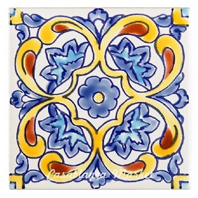 Mallory Indoor/Outdoor 4 x 4 Ceramic Tile in Blue/Yellow