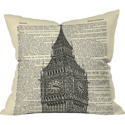 Big Ben on Dictionary Paper Outdoor Throw Pillow Size: 26 H x 26 W