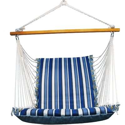 Soft Comfort Cushion Polyester Chair Hammock Color: Palm Stripe Blue