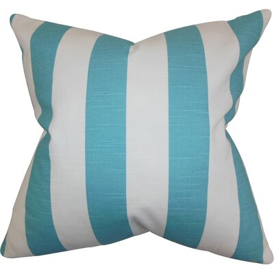 Acantha Cotton Throw Pillow Color: Coastal Blue/White, Size: 18 x 18