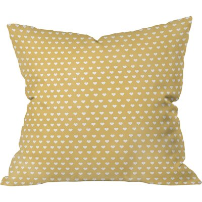 Dainty Yellow Hearts Throw Pillow Size: 18 x 18