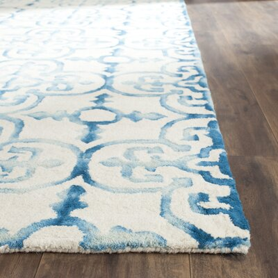 Naples Park Hand-Tufted Ivory/Turquoise Area Rug Rug Size: Rectangle 5 x 8