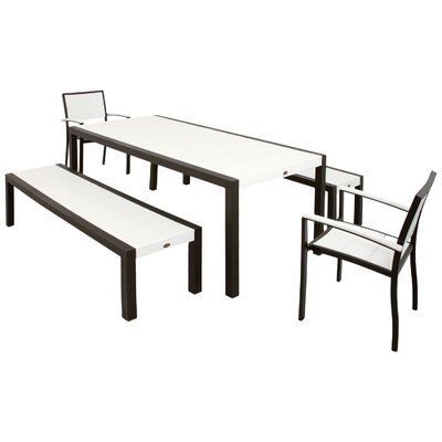 Surf City 5 Piece Bench Dining Set Color: Textured Bronze / Classic White